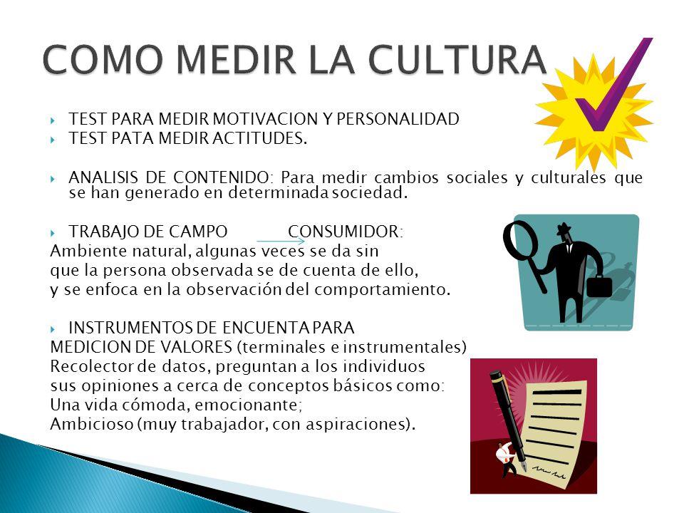 TEST PARA MEDIR MOTIVACION Y PERSONALIDAD TEST PATA MEDIR ACTITUDES. ANALISIS DE CONTENIDO: Para medir cambios sociales y culturales que se han genera
