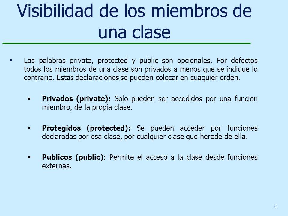 11 Visibilidad de los miembros de una clase Las palabras private, protected y public son opcionales. Por defectos todos los miembros de una clase son