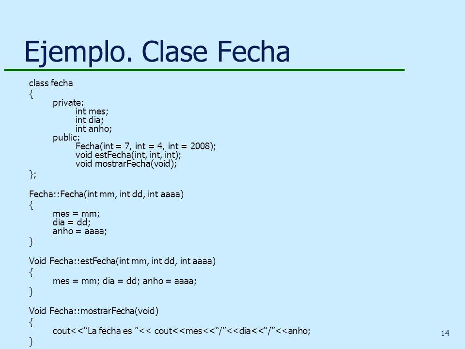 14 Ejemplo. Clase Fecha class fecha { private: int mes; int dia; int anho; public: Fecha(int = 7, int = 4, int = 2008); void estFecha(int, int, int);
