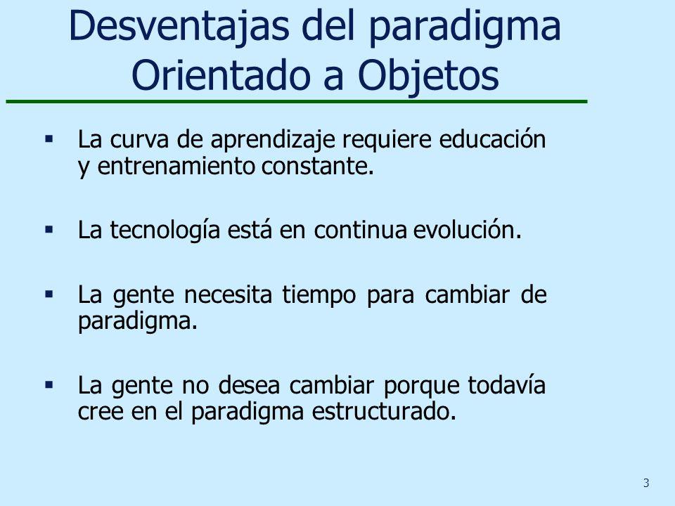 3 Desventajas del paradigma Orientado a Objetos La curva de aprendizaje requiere educación y entrenamiento constante. La tecnología está en continua e