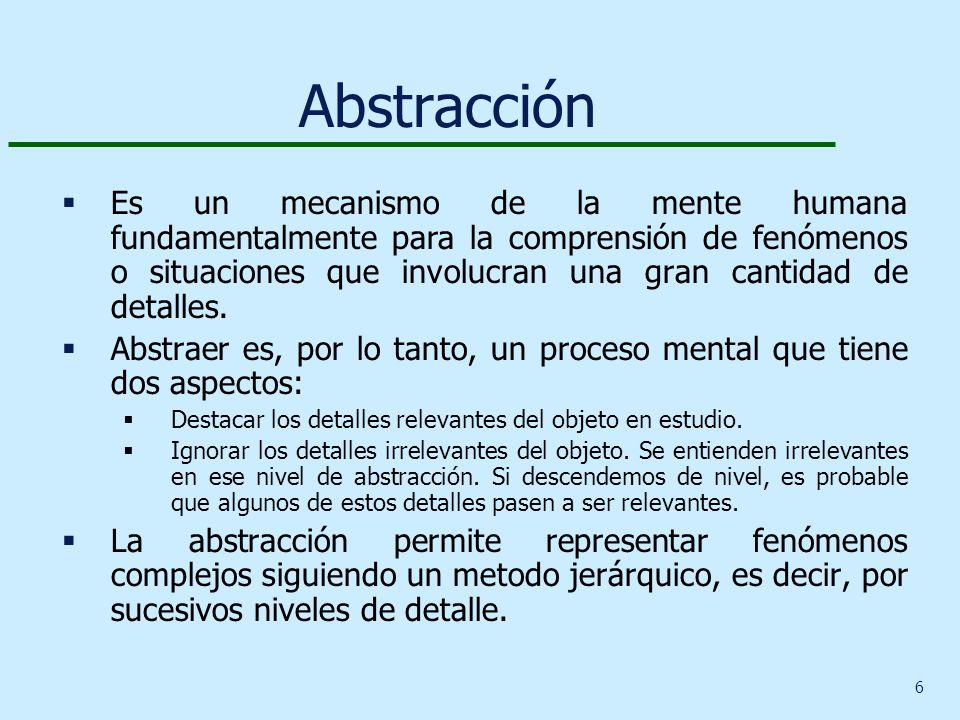 6 Abstracción Es un mecanismo de la mente humana fundamentalmente para la comprensión de fenómenos o situaciones que involucran una gran cantidad de detalles.