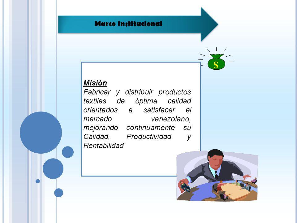 Marco institucional Visión Ser una empresa dedicada a la distribución de productos textiles, líderes en los mercados venezolanos y reconocidos como los proveedores preferidos de nuestros clientes, debido a la calidad de nuestros productos y la excelencia de nuestro personal.