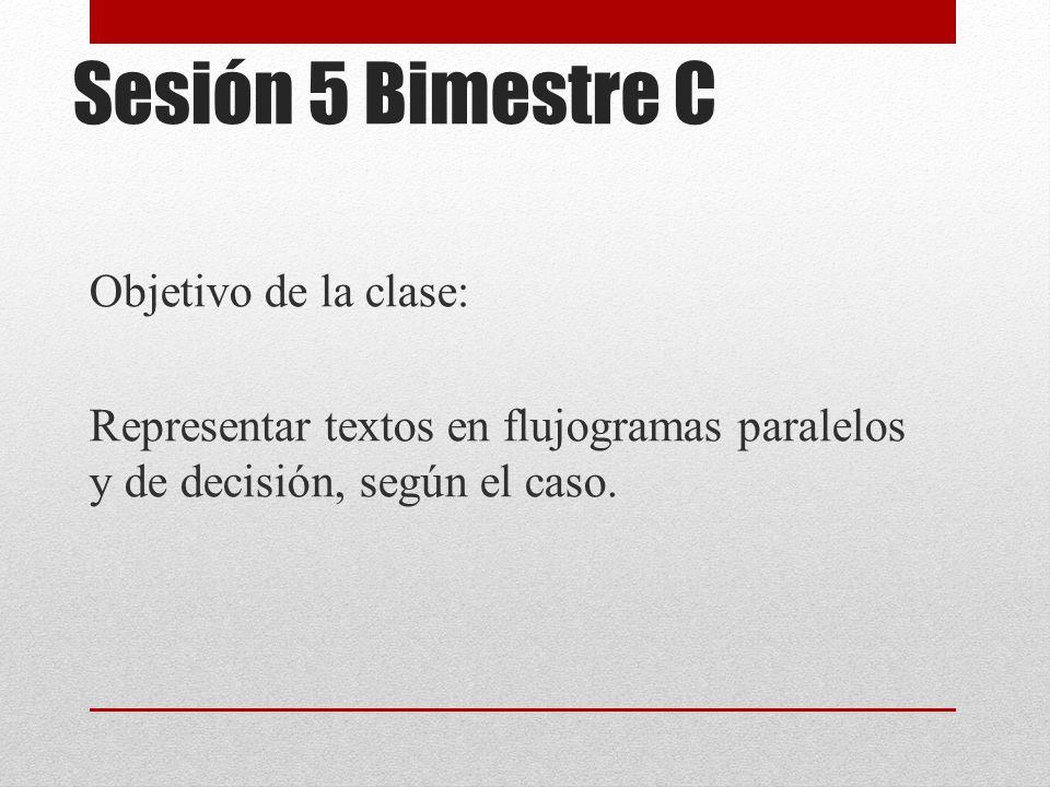 Sesión 5 Bimestre C Objetivo de la clase: Representar textos en flujogramas paralelos y de decisión, según el caso.