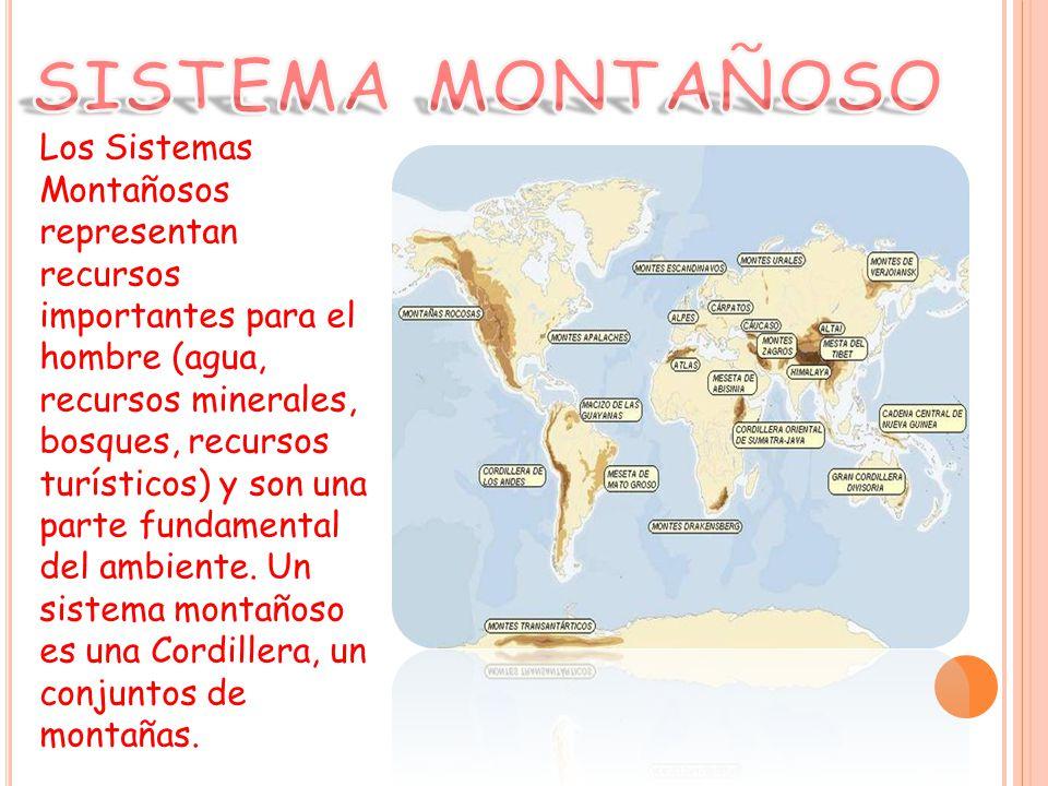 Los Sistemas Montañosos representan recursos importantes para el hombre (agua, recursos minerales, bosques, recursos turísticos) y son una parte fundamental del ambiente.