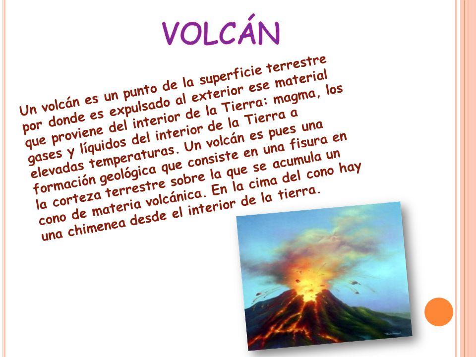 Un volcán es un punto de la superficie terrestre por donde es expulsado al exterior ese material que proviene del interior de la Tierra: magma, los gases y líquidos del interior de la Tierra a elevadas temperaturas.