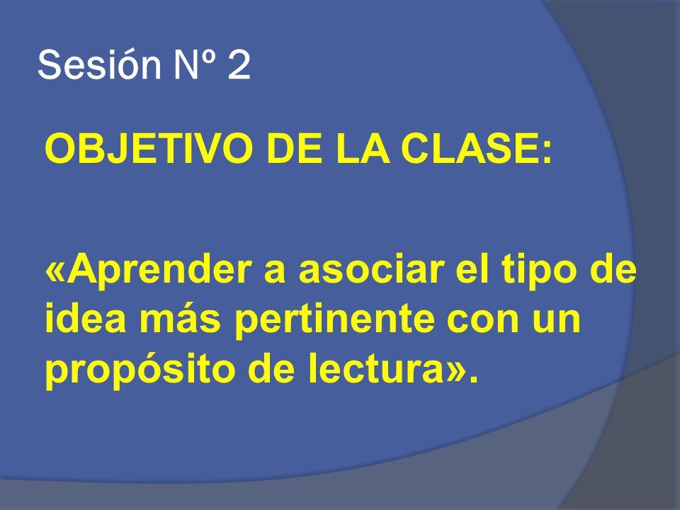 Sesión Nº 2 OBJETIVO DE LA CLASE: «Aprender a asociar el tipo de idea más pertinente con un propósito de lectura».
