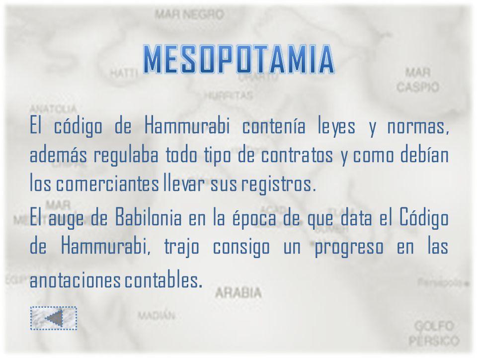 El código de Hammurabi contenía leyes y normas, además regulaba todo tipo de contratos y como debían los comerciantes llevar sus registros.