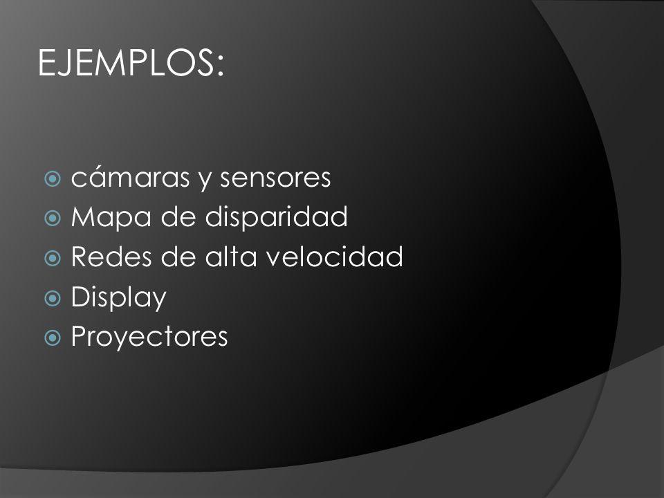 EJEMPLOS: cámaras y sensores Mapa de disparidad Redes de alta velocidad Display Proyectores