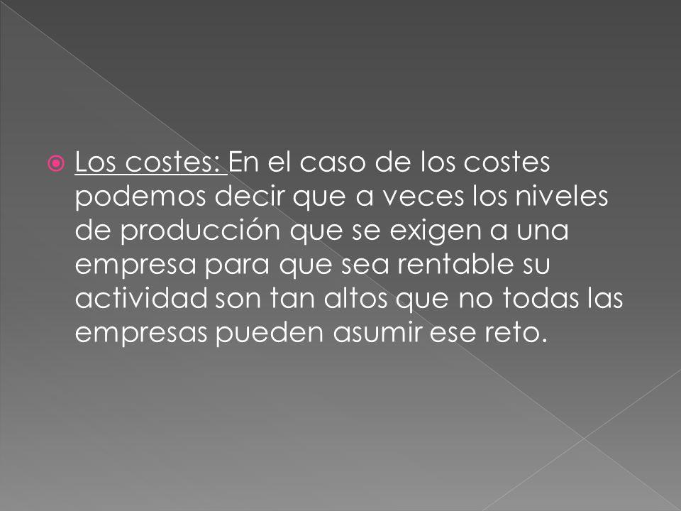 Los costes: En el caso de los costes podemos decir que a veces los niveles de producción que se exigen a una empresa para que sea rentable su activida