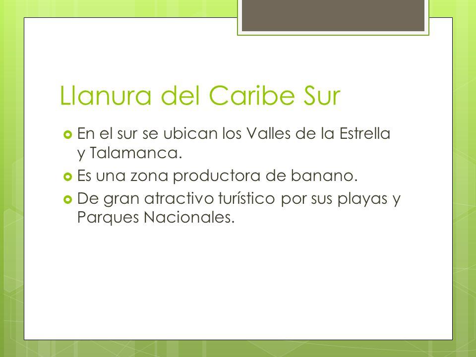 Llanura del Caribe Sur En el sur se ubican los Valles de la Estrella y Talamanca. Es una zona productora de banano. De gran atractivo turístico por su
