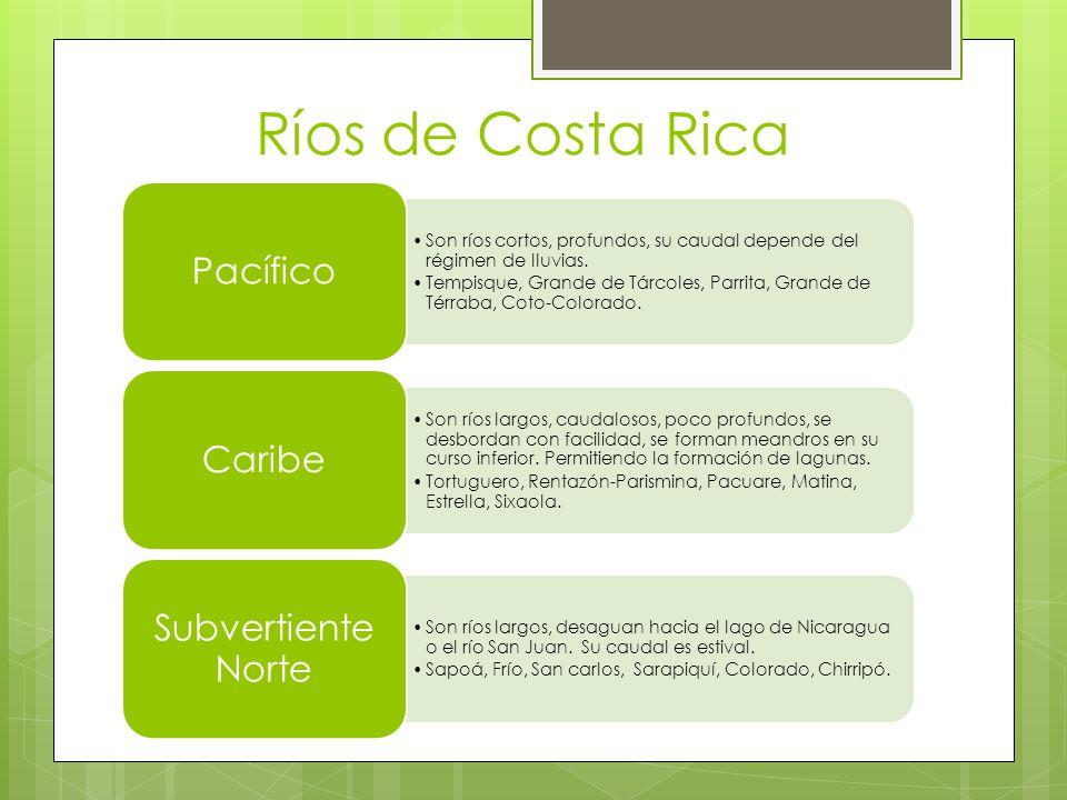 Ríos de Costa Rica Son ríos cortos, profundos, su caudal depende del régimen de lluvias. Tempisque, Grande de Tárcoles, Parrita, Grande de Térraba, Co