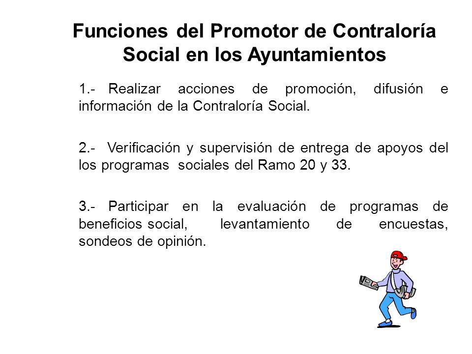 Funciones del Promotor de Contraloría Social en los Ayuntamientos 1.-Realizar acciones de promoción, difusión e información de la Contraloría Social.