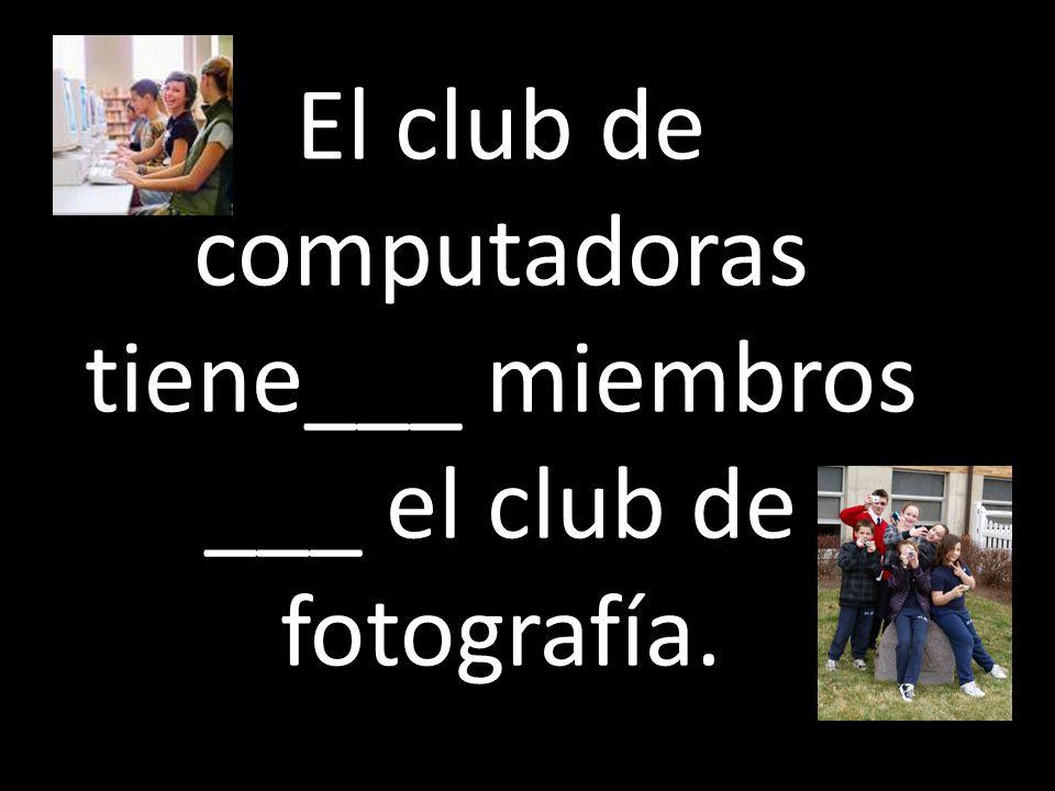 El club de computadoras tiene___ miembros ___ el club de fotografía.