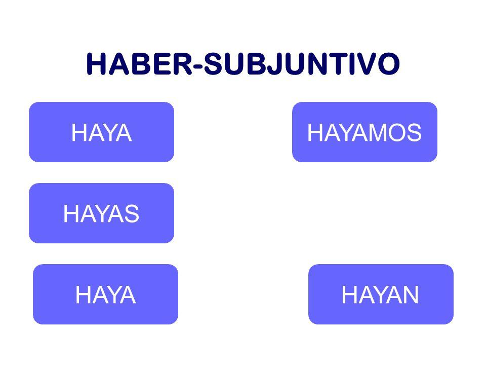 HABER-SUBJUNTIVO HAYA HAYAS HAYA HAYAMOS HAYAN