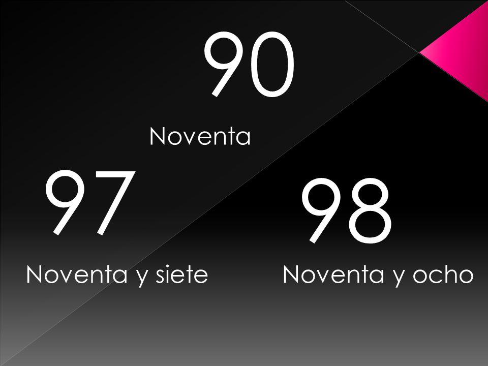 98 90 97 Noventa Noventa y sieteNoventa y ocho