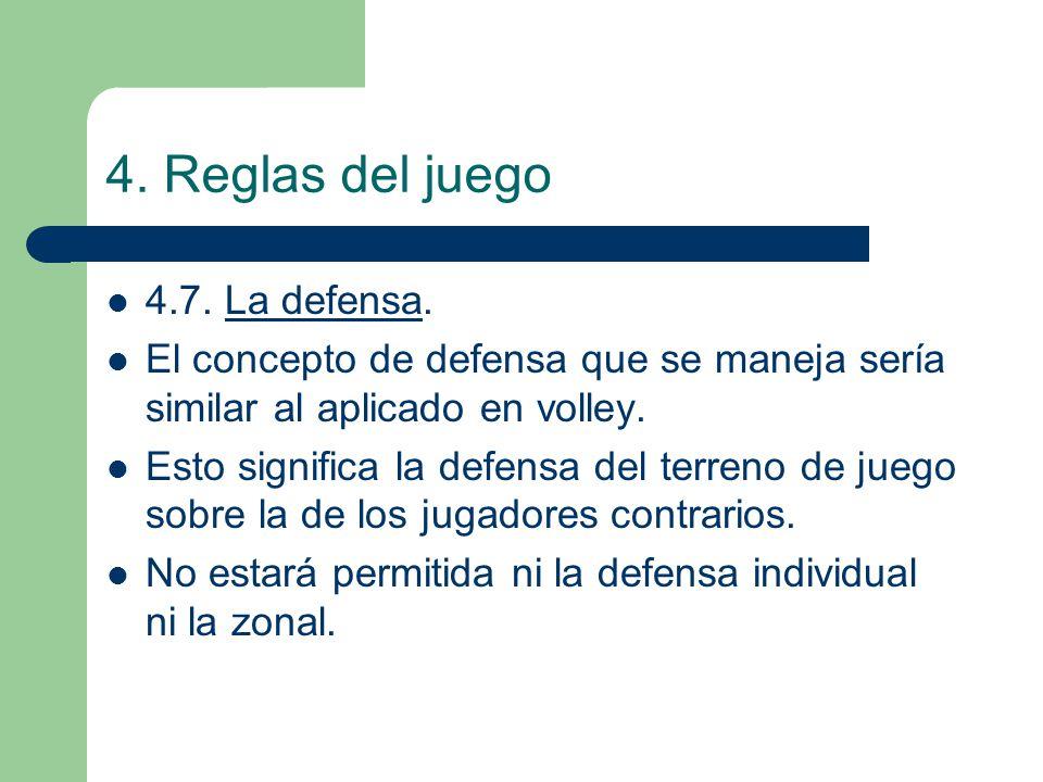 4. Reglas del juego 4.7. La defensa. El concepto de defensa que se maneja sería similar al aplicado en volley. Esto significa la defensa del terreno d