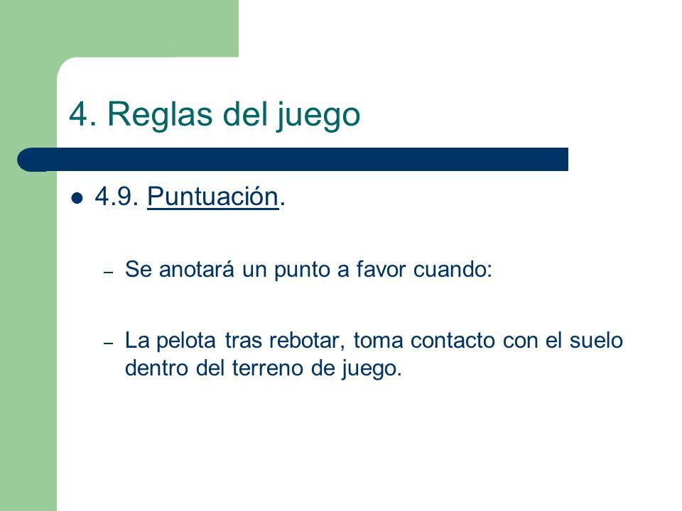 4. Reglas del juego 4.9. Puntuación. – Se anotará un punto a favor cuando: – La pelota tras rebotar, toma contacto con el suelo dentro del terreno de
