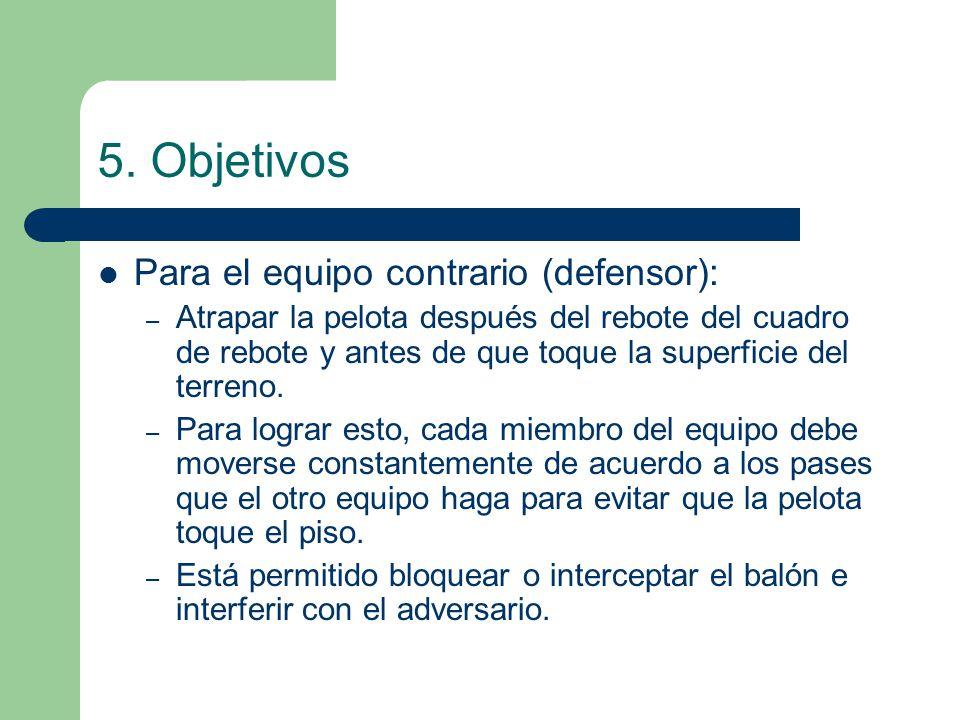 5. Objetivos Para el equipo contrario (defensor): – Atrapar la pelota después del rebote del cuadro de rebote y antes de que toque la superficie del t