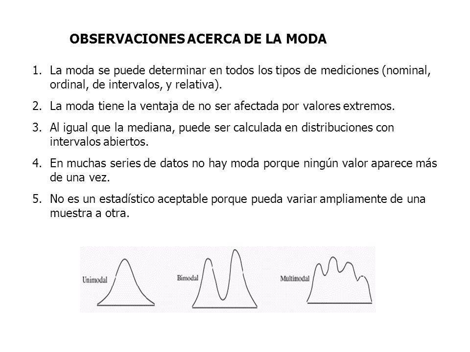 OBSERVACIONES ACERCA DE LA MODA 1.La moda se puede determinar en todos los tipos de mediciones (nominal, ordinal, de intervalos, y relativa).