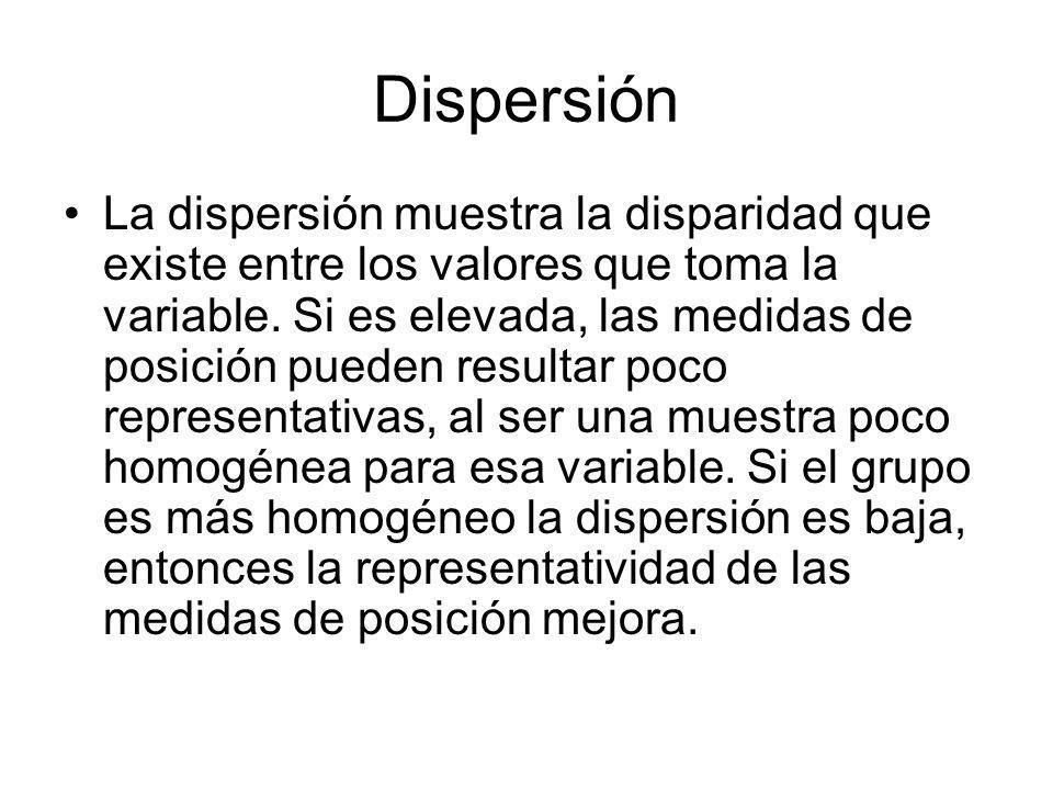 Dispersión La dispersión muestra la disparidad que existe entre los valores que toma la variable.