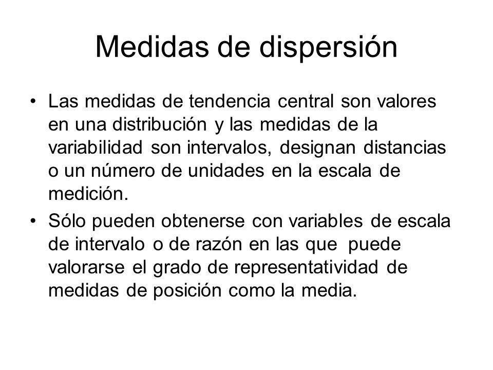 Medidas de dispersión Las medidas de tendencia central son valores en una distribución y las medidas de la variabilidad son intervalos, designan distancias o un número de unidades en la escala de medición.