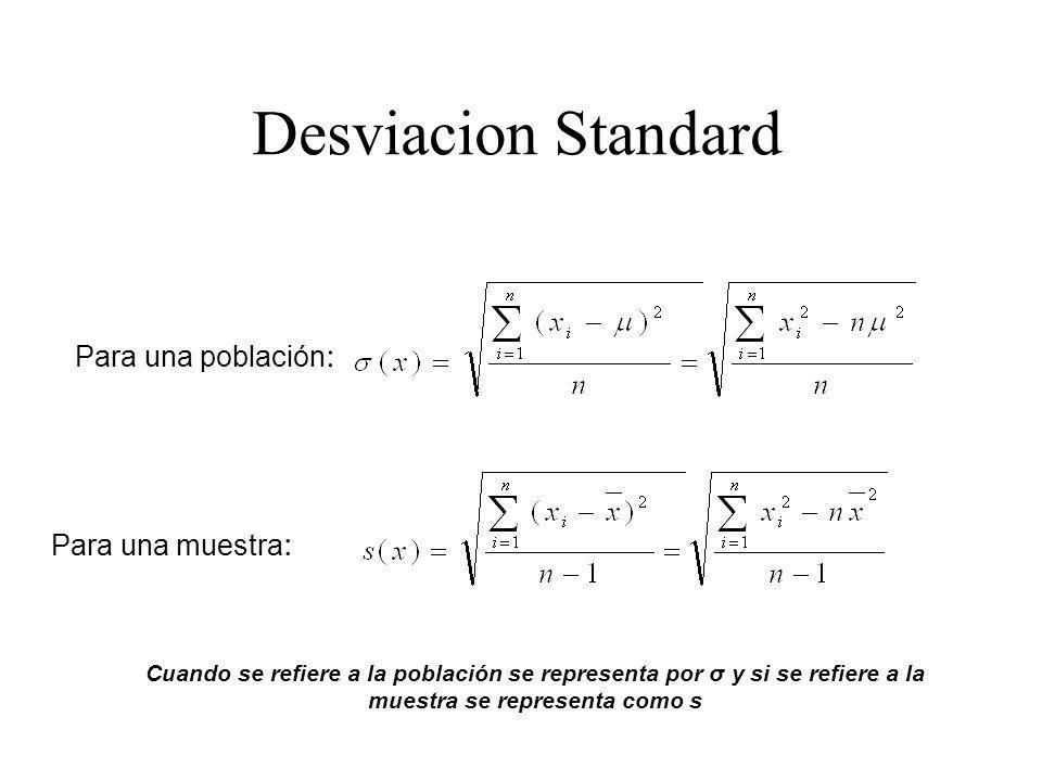 Desviacion Standard Cuando se refiere a la población se representa por σ y si se refiere a la muestra se representa como s Para una población : Para una muestra :