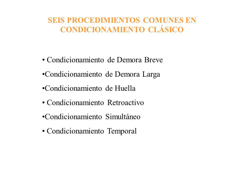 SEIS PROCEDIMIENTOS COMUNES EN CONDICIONAMIENTO CLÁSICO Condicionamiento de Demora Breve Condicionamiento de Demora Larga Condicionamiento de Huella C