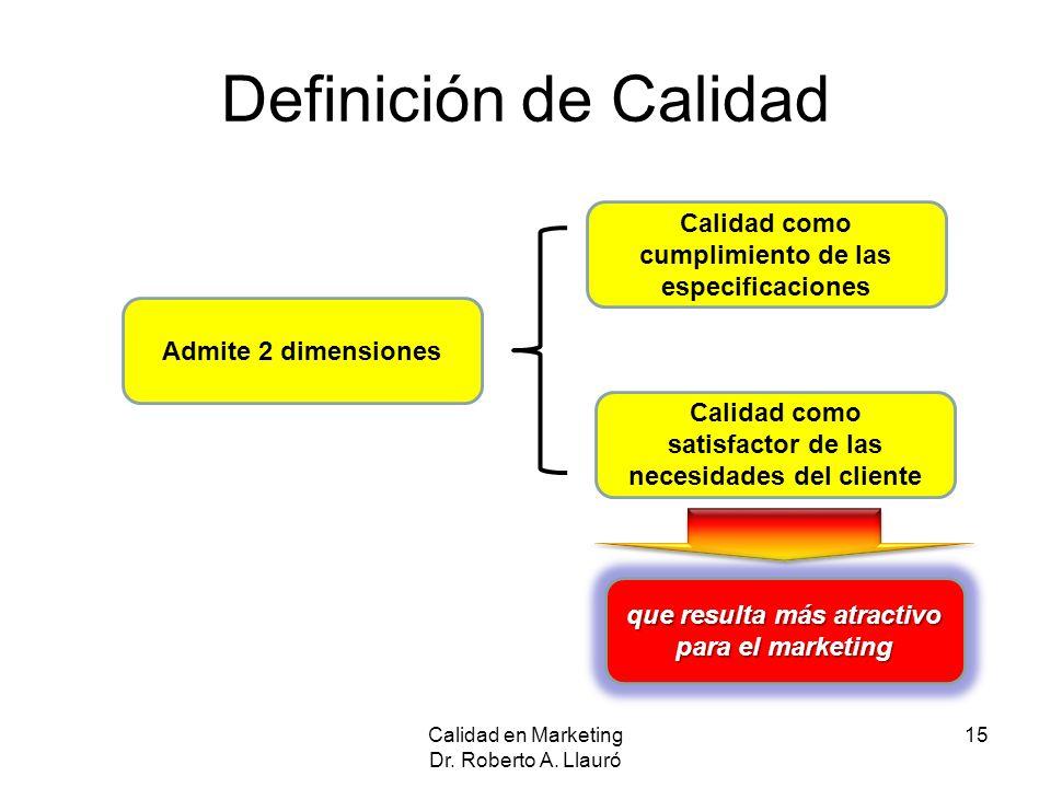 Definición de Calidad Calidad en Marketing Dr. Roberto A. Llauró 15 Admite 2 dimensiones Calidad como satisfactor de las necesidades del cliente Calid