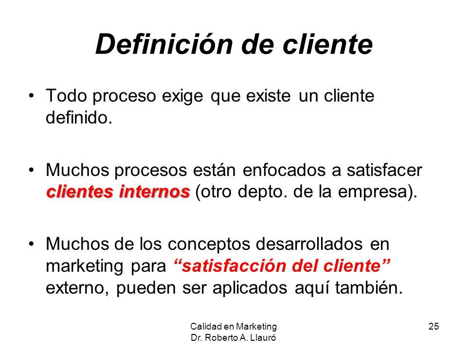 Definición de cliente Todo proceso exige que existe un cliente definido. clientes internosMuchos procesos están enfocados a satisfacer clientes intern