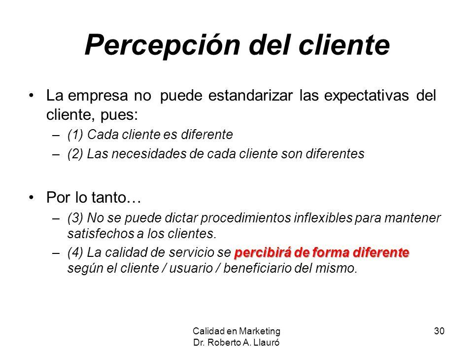 Percepción del cliente La empresa no puede estandarizar las expectativas del cliente, pues: –(1) Cada cliente es diferente –(2) Las necesidades de cad