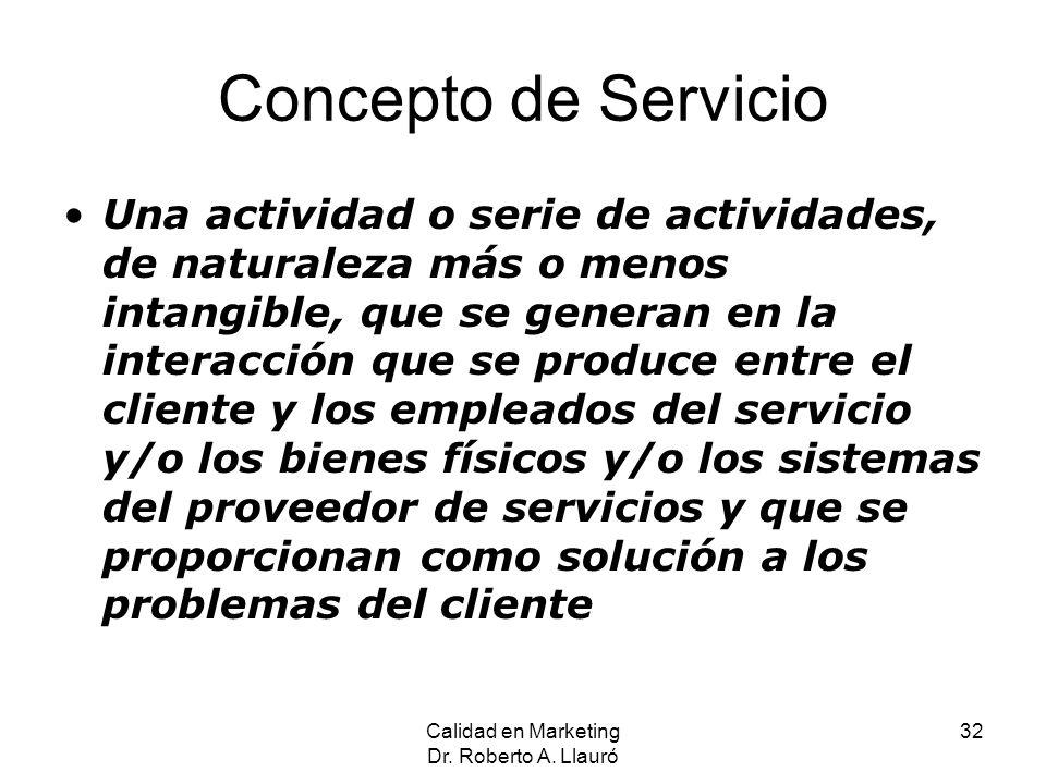 Concepto de Servicio Una actividad o serie de actividades, de naturaleza más o menos intangible, que se generan en la interacción que se produce entre