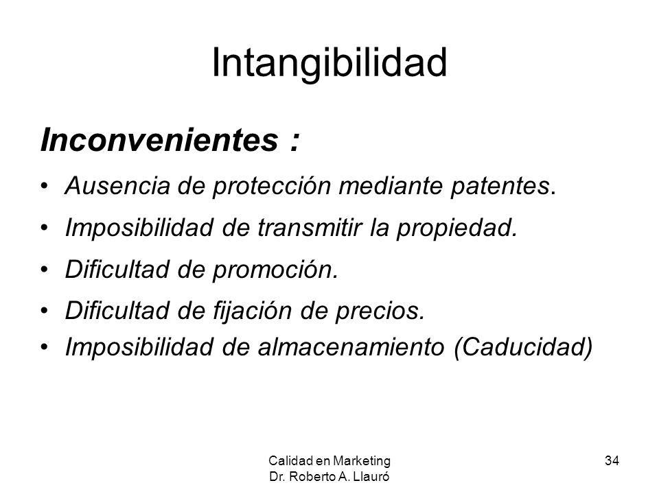 Intangibilidad Inconvenientes : Ausencia de protección mediante patentes. Imposibilidad de transmitir la propiedad. Dificultad de promoción. Dificulta