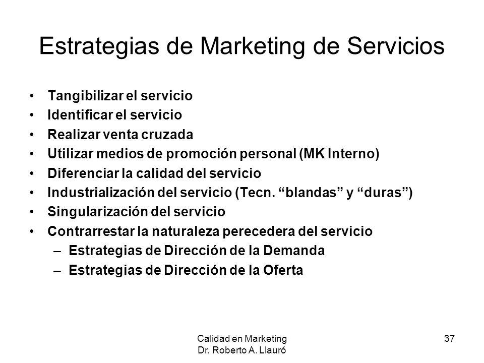 Estrategias de Marketing de Servicios Tangibilizar el servicio Identificar el servicio Realizar venta cruzada Utilizar medios de promoción personal (M