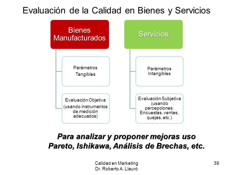 Evaluación de la Calidad en Bienes y Servicios Calidad en Marketing Dr. Roberto A. Llauró 39 Para analizar y proponer mejoras uso Pareto, Ishikawa, An