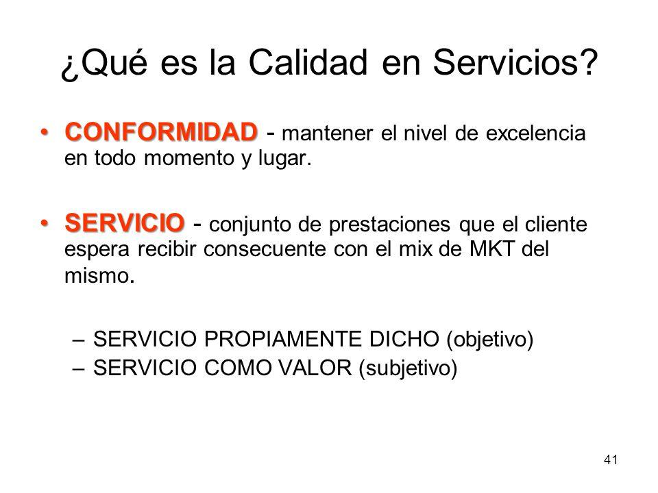 41 ¿Qué es la Calidad en Servicios? CONFORMIDADCONFORMIDAD - mantener el nivel de excelencia en todo momento y lugar. SERVICIOSERVICIO - conjunto de p