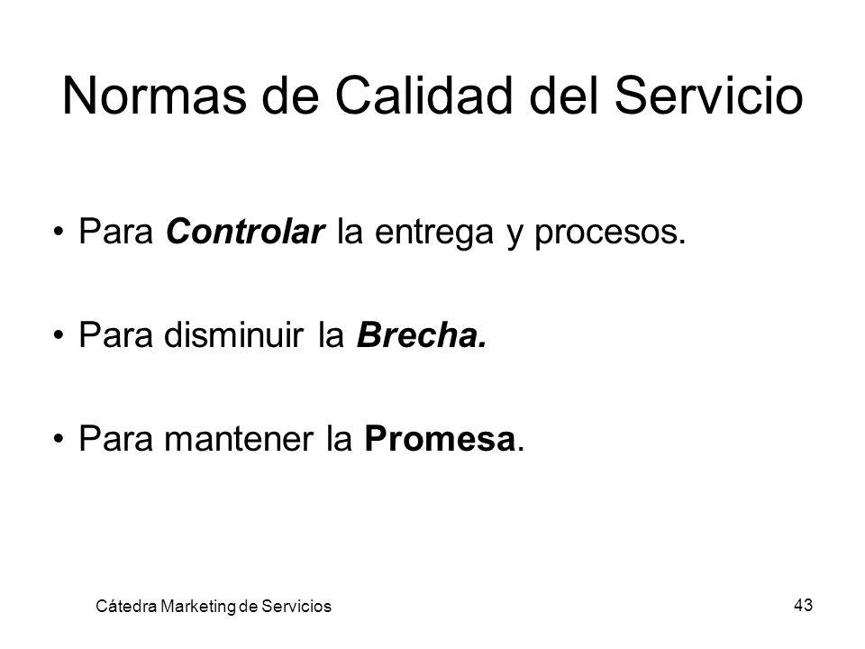 43 Normas de Calidad del Servicio Para Controlar la entrega y procesos. Para disminuir la Brecha. Para mantener la Promesa. Cátedra Marketing de Servi