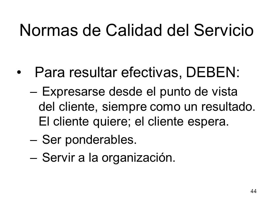 44 Normas de Calidad del Servicio Para resultar efectivas, DEBEN: – Expresarse desde el punto de vista del cliente, siempre como un resultado. El clie