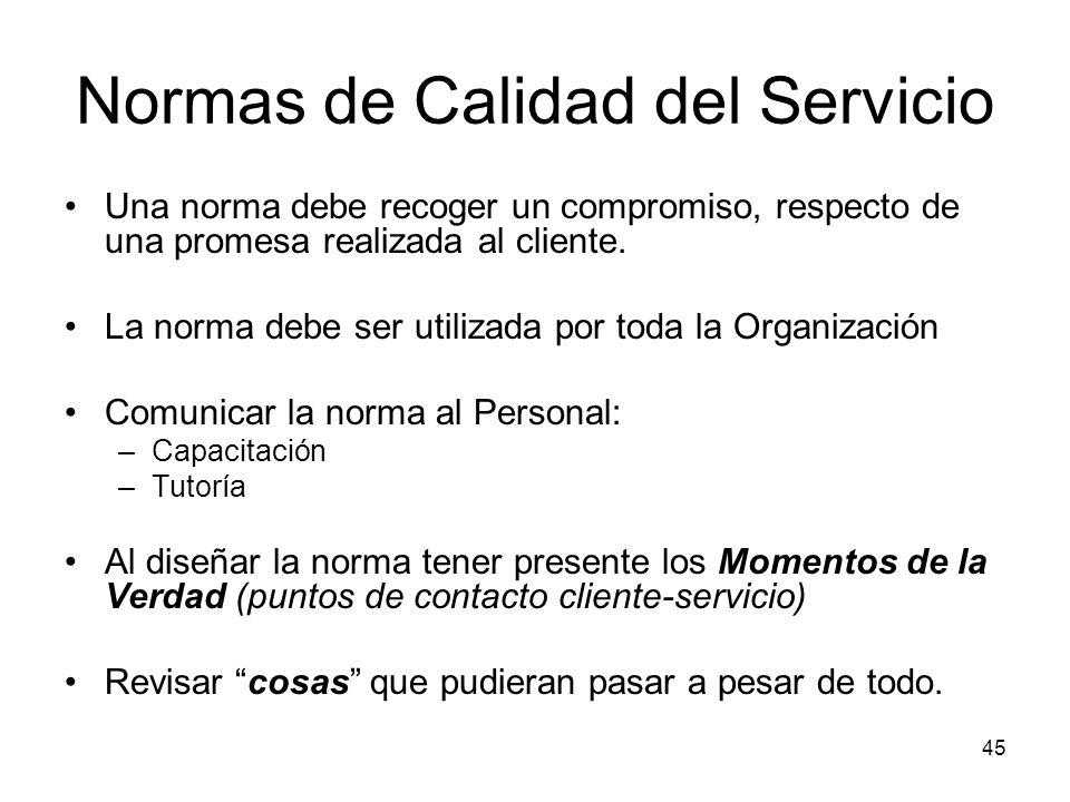 45 Normas de Calidad del Servicio Una norma debe recoger un compromiso, respecto de una promesa realizada al cliente. La norma debe ser utilizada por