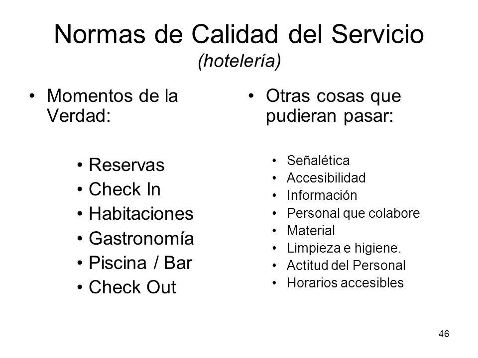 46 Normas de Calidad del Servicio (hotelería) Momentos de la Verdad: Reservas Check In Habitaciones Gastronomía Piscina / Bar Check Out Otras cosas qu