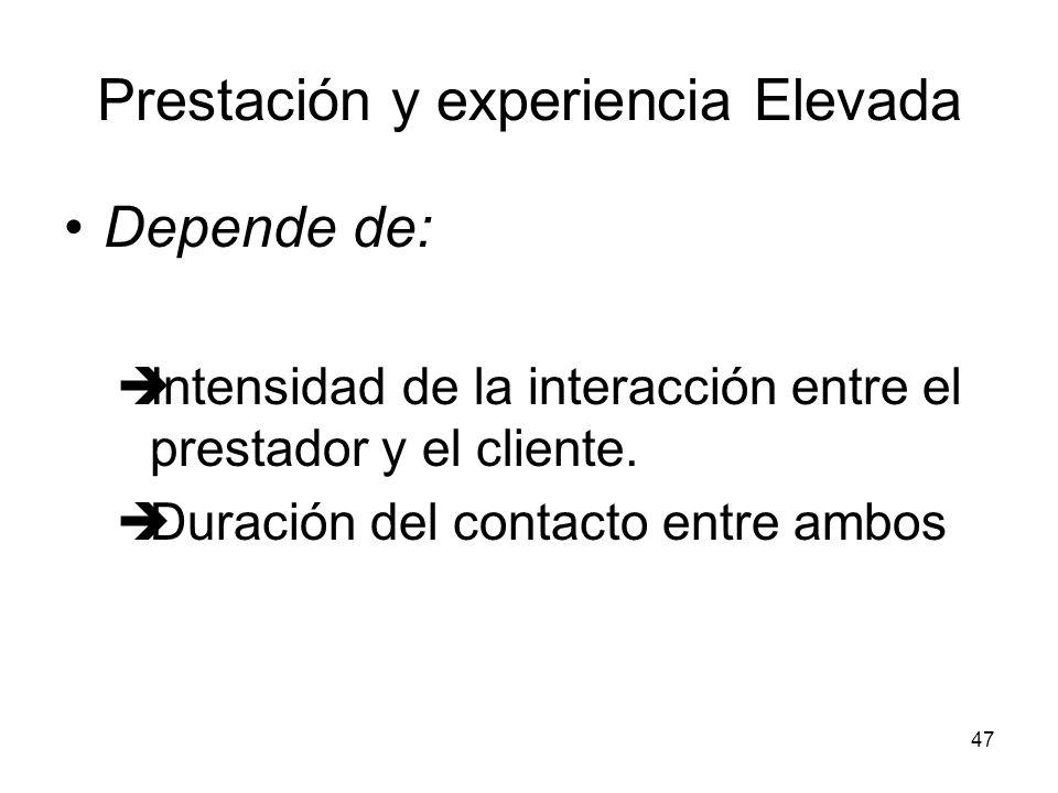47 Prestación y experiencia Elevada Depende de: Intensidad de la interacción entre el prestador y el cliente. Duración del contacto entre ambos