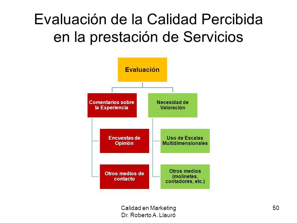 Evaluación de la Calidad Percibida en la prestación de Servicios Calidad en Marketing Dr. Roberto A. Llauró 50