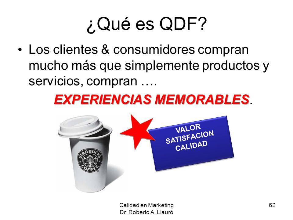 Calidad en Marketing Dr. Roberto A. Llauró 62 ¿Qué es QDF? Los clientes & consumidores compran mucho más que simplemente productos y servicios, compra