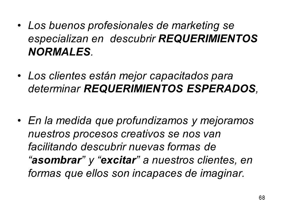 68 Los buenos profesionales de marketing se especializan en descubrir REQUERIMIENTOS NORMALES. Los clientes están mejor capacitados para determinar RE