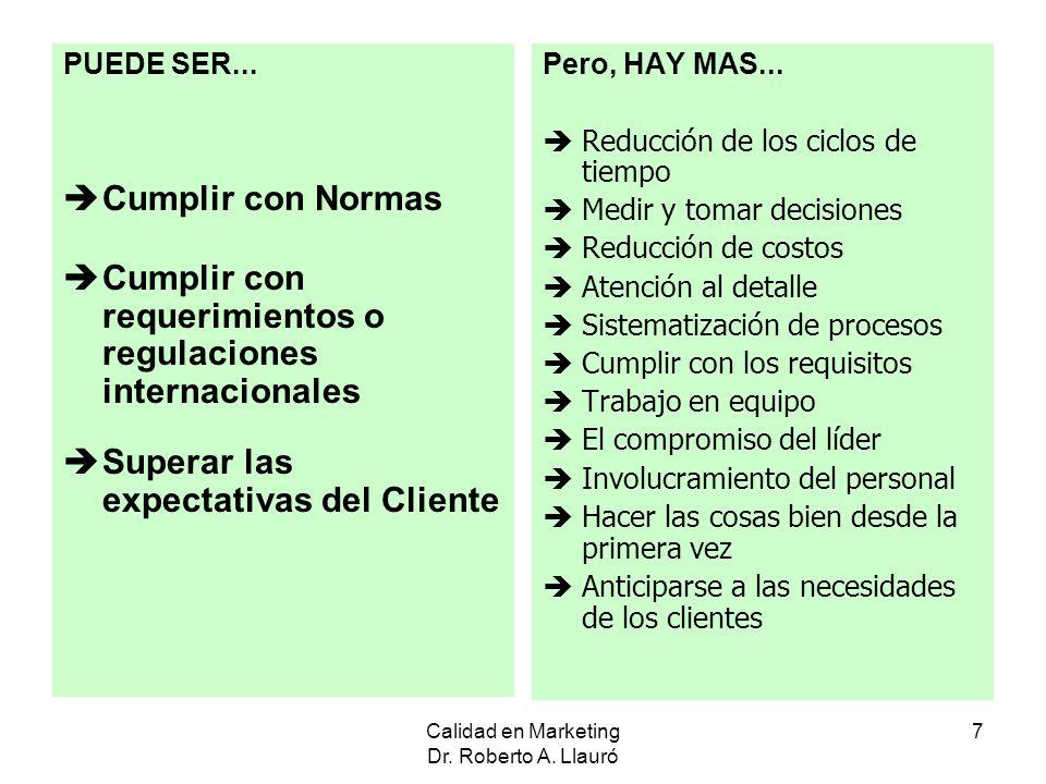 Calidad en Marketing Dr. Roberto A. Llauró 7 PUEDE SER... Cumplir con Normas Cumplir con requerimientos o regulaciones internacionales Superar las exp