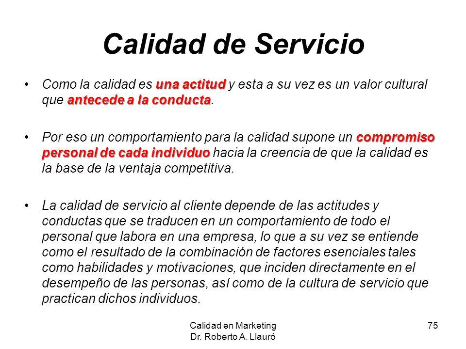 Calidad de Servicio una actitud antecede a la conductaComo la calidad es una actitud y esta a su vez es un valor cultural que antecede a la conducta.