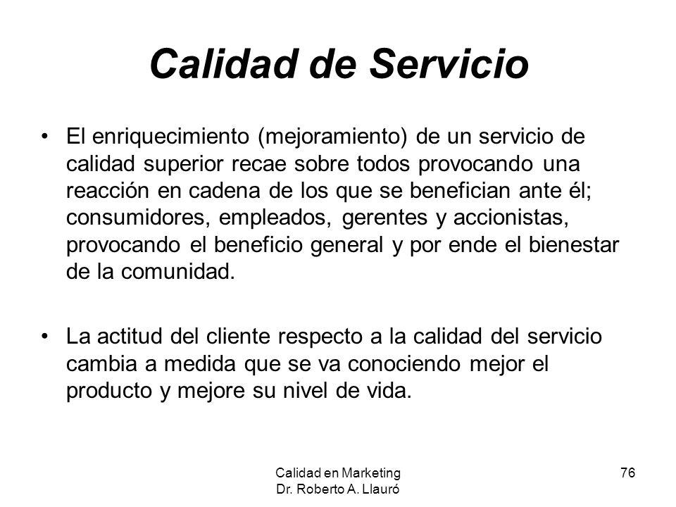 Calidad de Servicio El enriquecimiento (mejoramiento) de un servicio de calidad superior recae sobre todos provocando una reacción en cadena de los qu