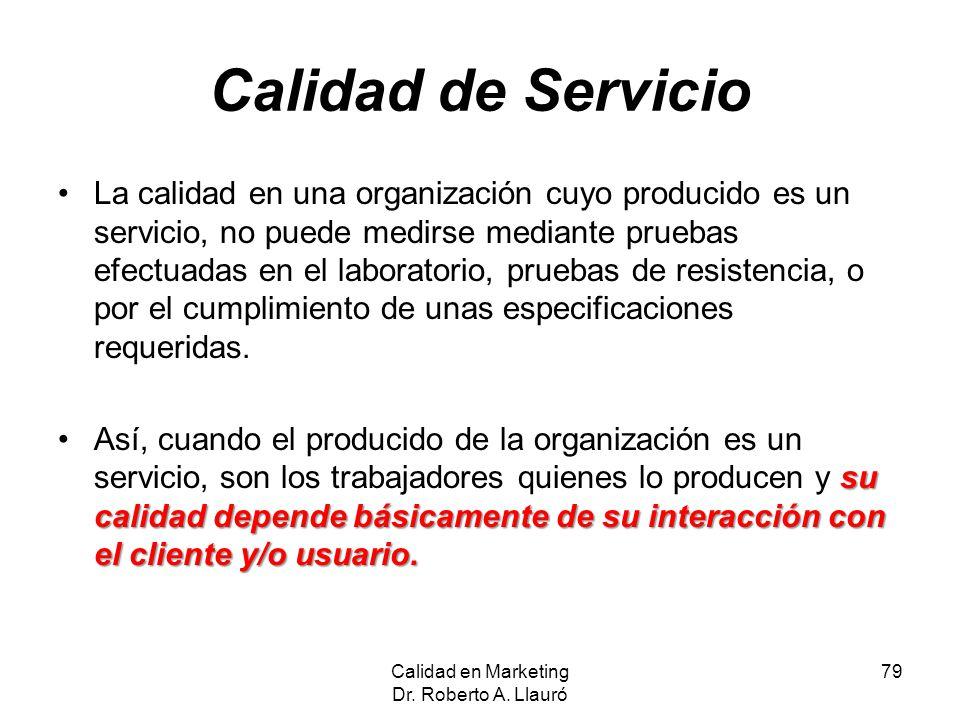 Calidad de Servicio La calidad en una organización cuyo producido es un servicio, no puede medirse mediante pruebas efectuadas en el laboratorio, prue