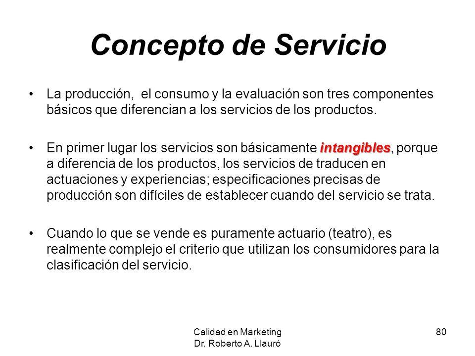 Concepto de Servicio La producción, el consumo y la evaluación son tres componentes básicos que diferencian a los servicios de los productos. intangib