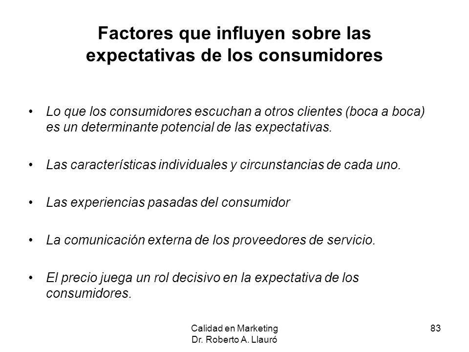 Factores que influyen sobre las expectativas de los consumidores Lo que los consumidores escuchan a otros clientes (boca a boca) es un determinante po
