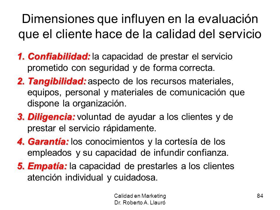Dimensiones que influyen en la evaluación que el cliente hace de la calidad del servicio 1.Confiabilidad: 1.Confiabilidad: la capacidad de prestar el